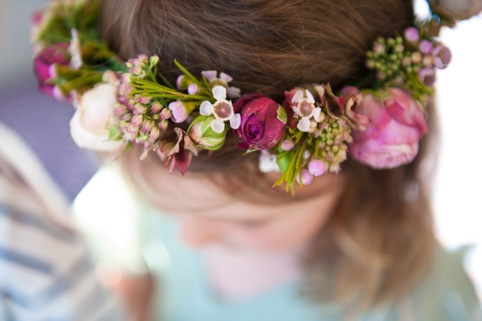 Purple and pink flower crown with roses and peonies