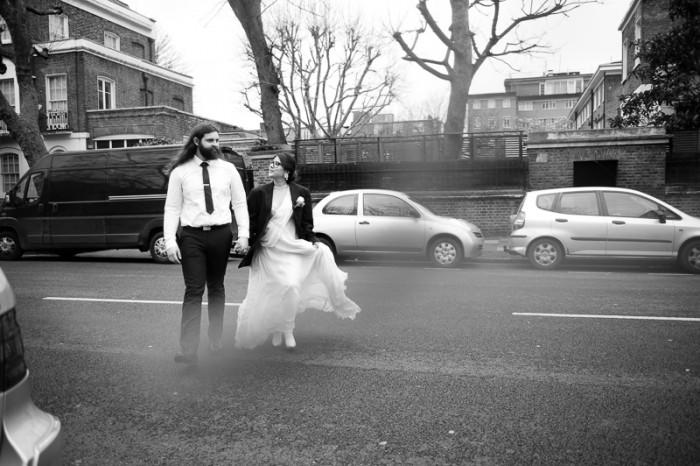 Bride and groom in urban setting in St Johns Wood