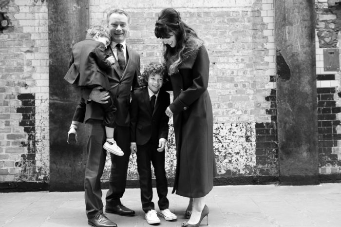 Family portrait during London wedding on the South Bank