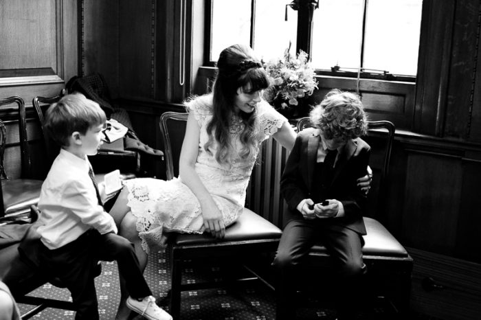 Bride at Camden Town Hall with her two sons