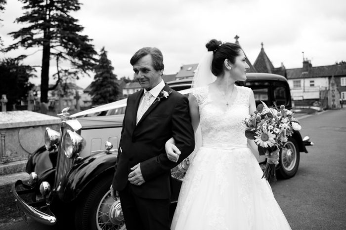 Bride with father at St Andrew's Greek Orthodox Church wedding