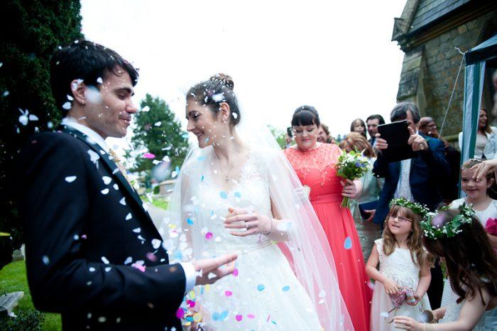 Confetti shot at church wedding in Surrey