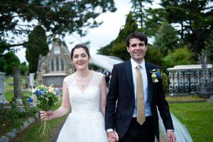 Bride and groom at Greek Orthodox wedding in Surrey