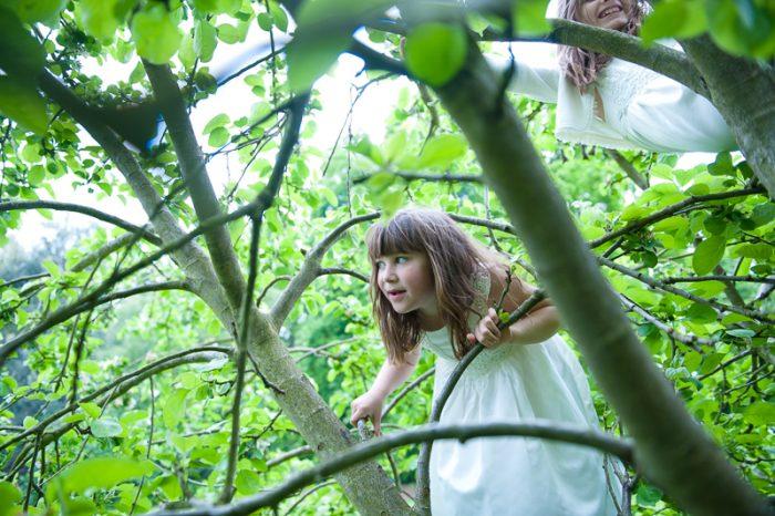 Flower Girl climbing tree