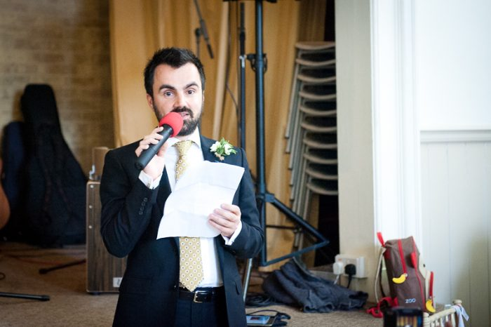Best man's speech at village hall wedding