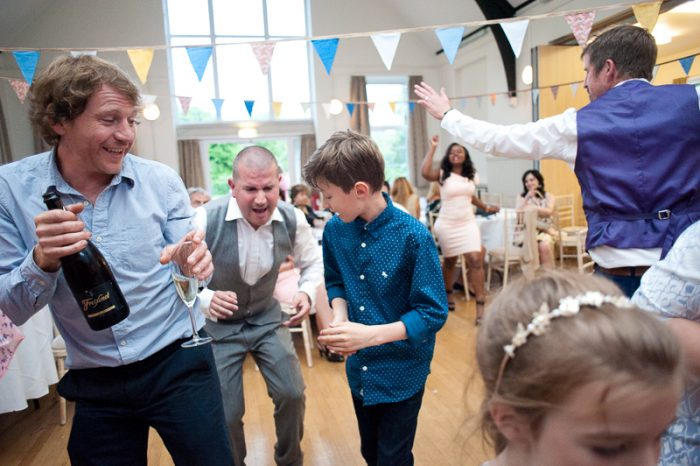 Guests on the dancefloor at Lyne Village Hall