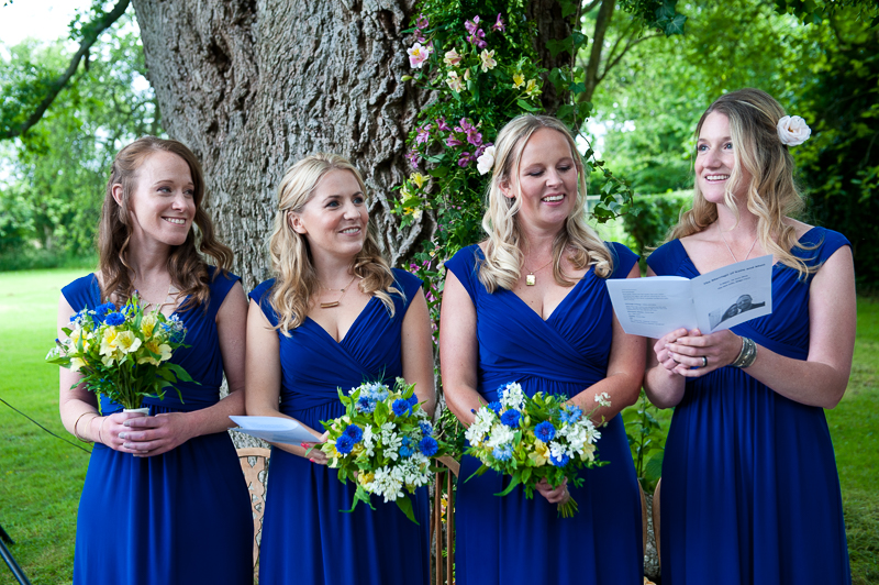 Bridesmaids singing at Humanist wedding