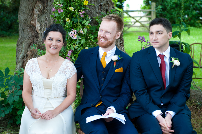Bride, Groom and best man at Humanist wedding