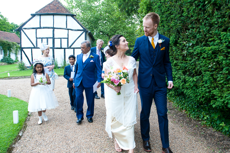 Bride and groom after Humanist wedding ceremony