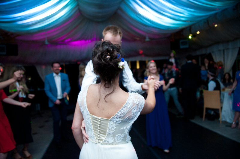 Bride and groom dancing at Ridge Farm