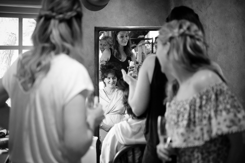 Candid photograph of bridal preparations at Ridge Farm Studios