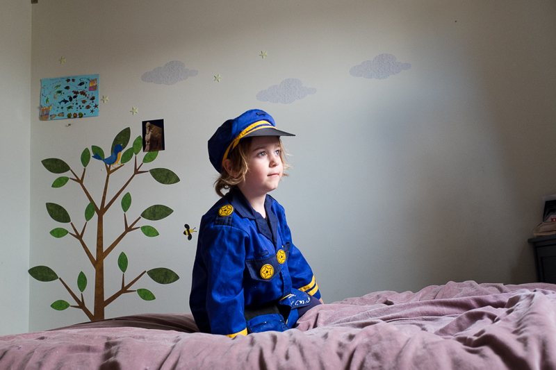 Child dressed up as chief of police