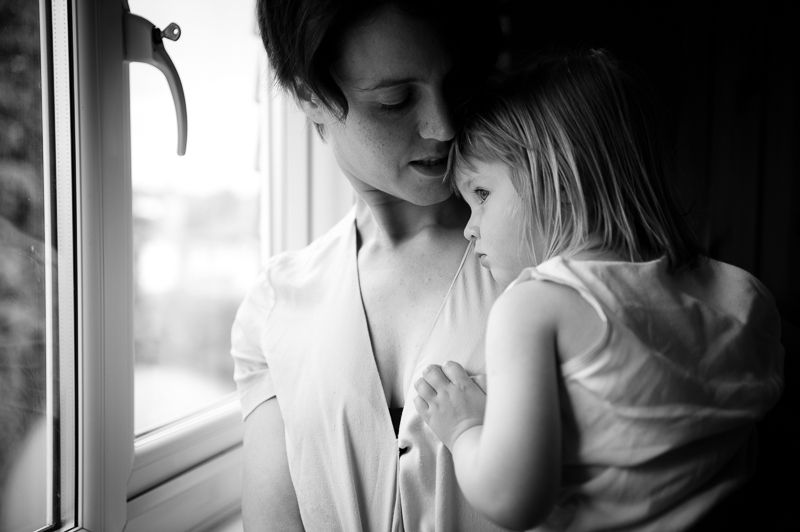 Black and white photograph of mother and daughter taken at Palmers Green Family Portrait session