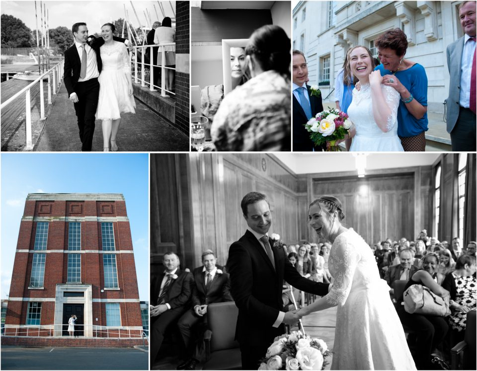 A selection of reportage wedding photographs showing a wedding at the West Reservoir Centre in Stoke Newington