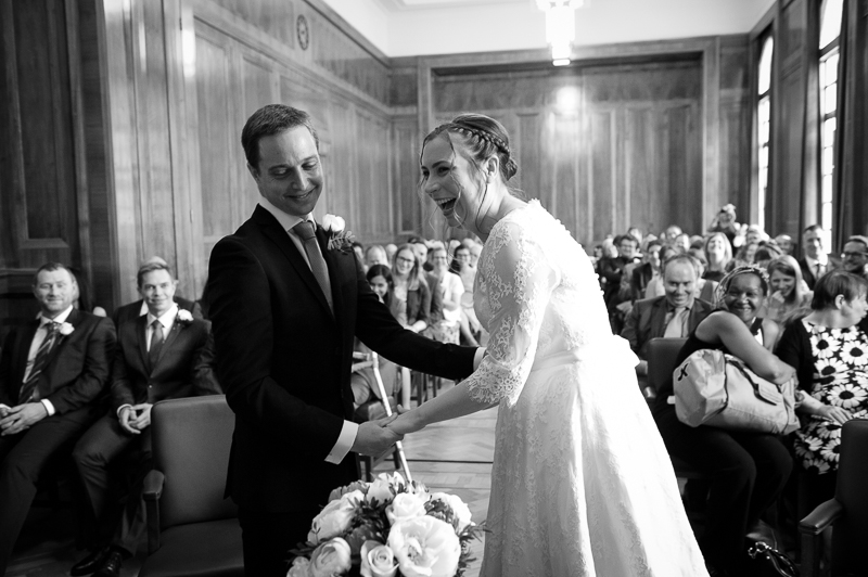Bride and groom at Hackney Town Hall wedding