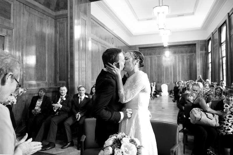 Frist kiss at Hackney Town Hall wedding