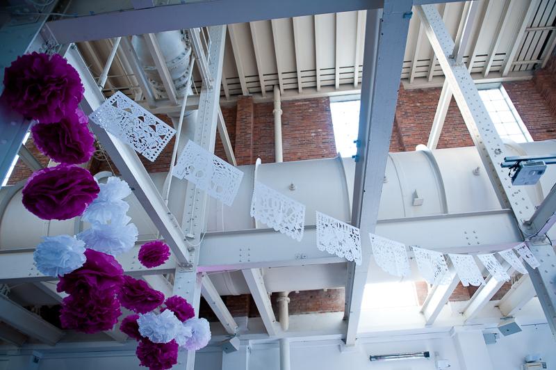 Paper Pom Poms wedding reception decoration