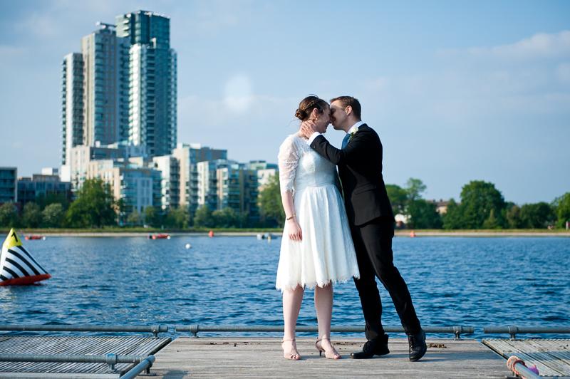 Bride and groom portrait at West Reservoir Centre wedding