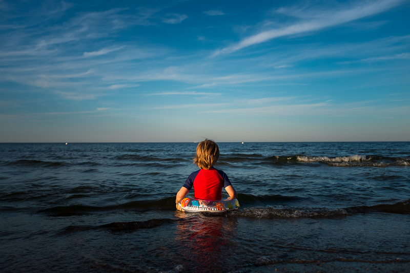 Child in the sea in Usedom