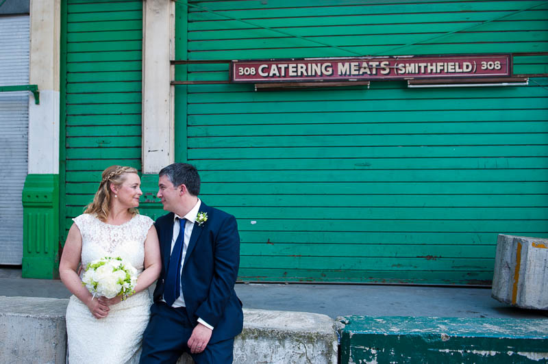 Couple portrait at Farringdon meat market