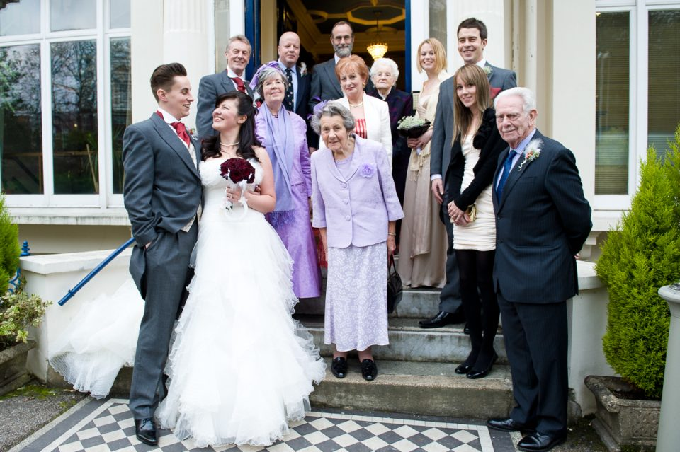 Wedding group shot at Glenmore House
