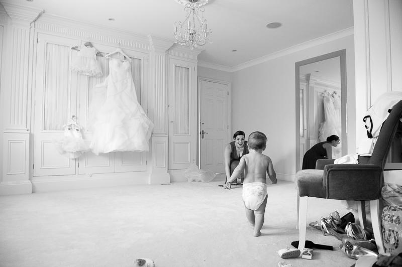 Baby in nappies at bridal preparations