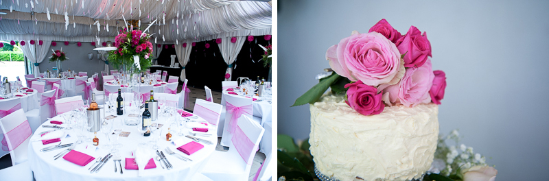 Feathers decorating ceiling at wedding reception and wedding cake decorated with pink roses