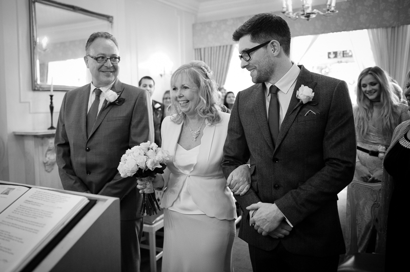 Bride and groom at ceremony at Enfield registry office wedding