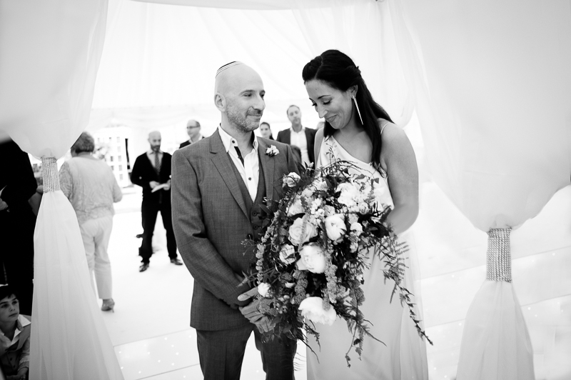 Jewish wedding ceremony in marquee in Hertfordshire