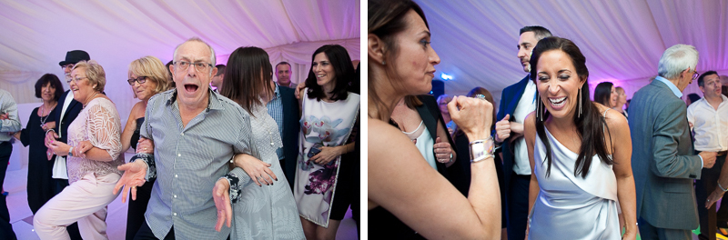 Reportage photographs of wedding guests on the dancefloor