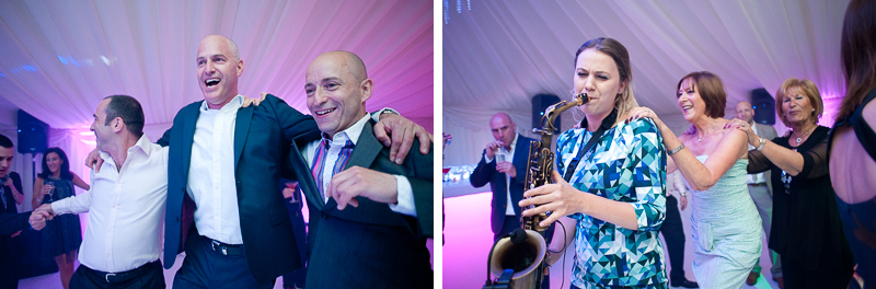 Saxophonist playing at Jewish wedding in Hertfordshire