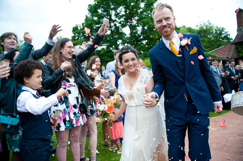 Confetti at Humanist wedding at Ridge Farm