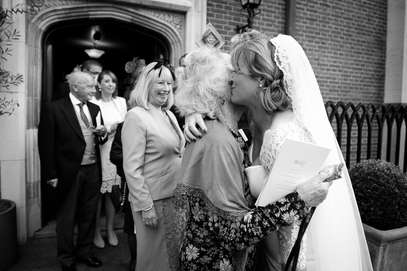 Bride greeting grandma at Grey's Inn wedding