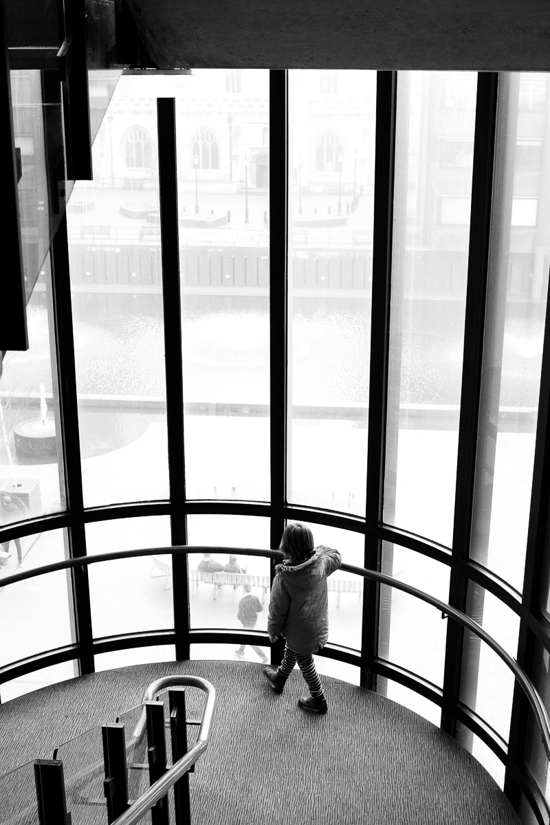 Boy walking around in the Barbican centre