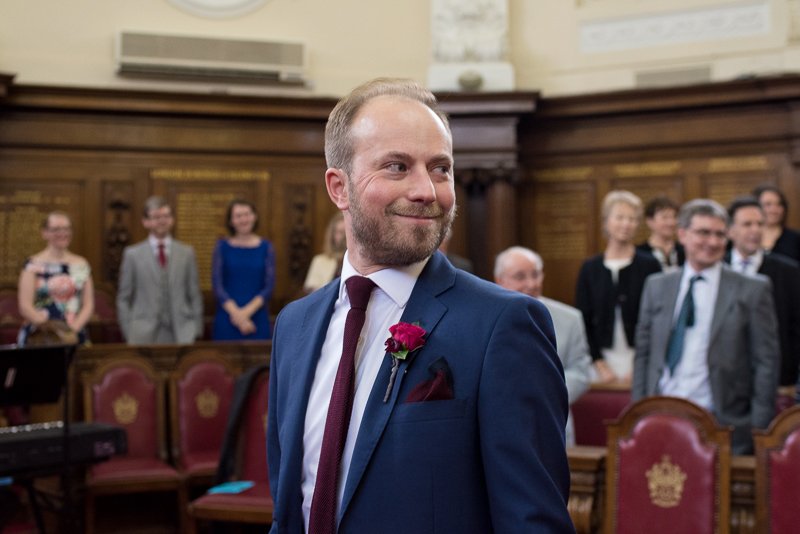 Groom sees bride at Islington Town Hall wedding