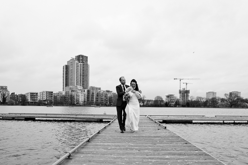 Bride and groom on the reservoir at West Reservoir Centre