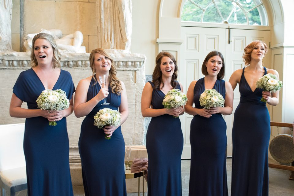 Bridesmaid sing at wedding