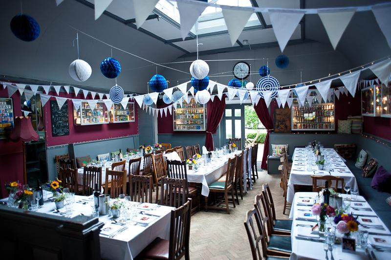 DIY wedding decorations at Londesborough pub