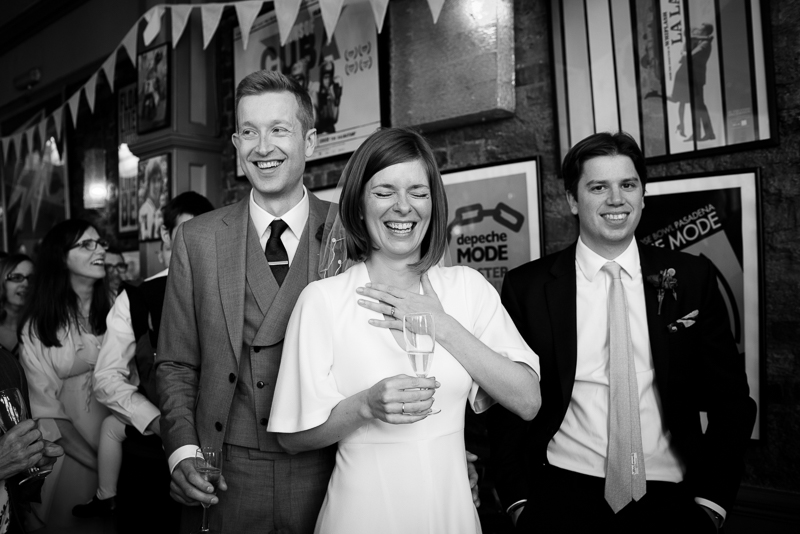 Bride and groom reacting to speeches at Londesborough Pub