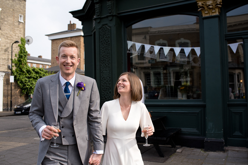 Bride and groom outside Londesborough Pub