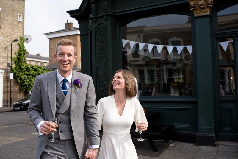 Bride and groom outside Londesborough Pub