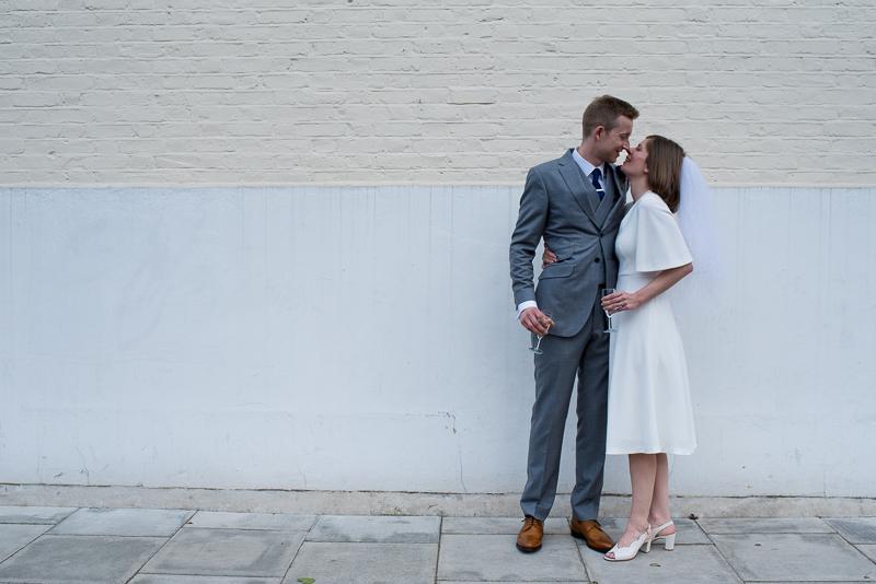 Bride and groom portrait in Stoke Newington