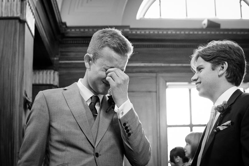 Emotional groom at Stoke Newington wedding ceremony