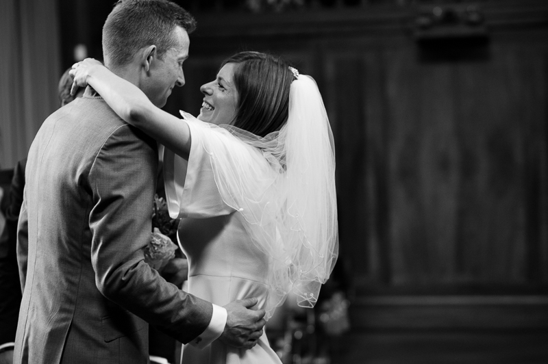 Bride and groom greet each other during Stoke Newington wedding ceremony