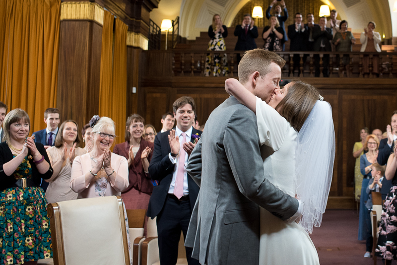 First kiss at wedding ceremony at Stoke Newington Town Hall