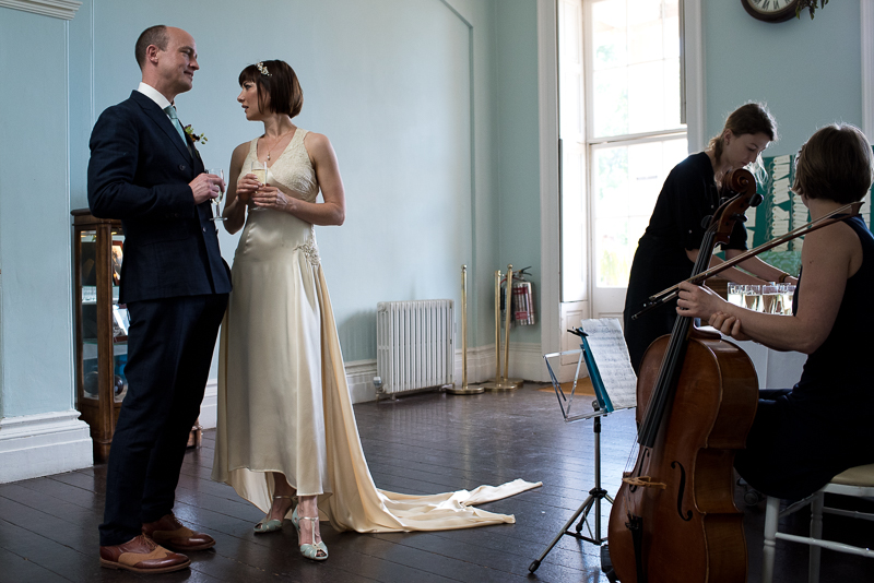 Bride and groom inside Clissold House