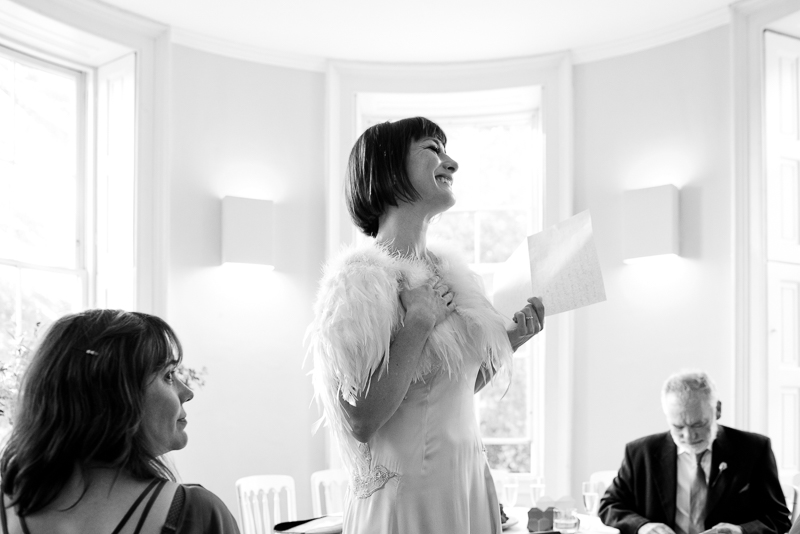 Bride makes speech at Clissold House