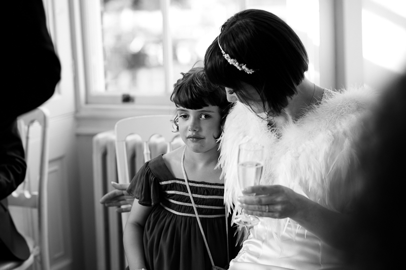Bride and daughter listening to speeches