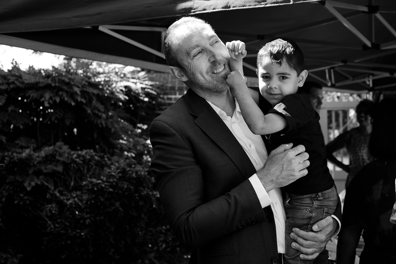 Groom and son before Merton Registry Office wedding