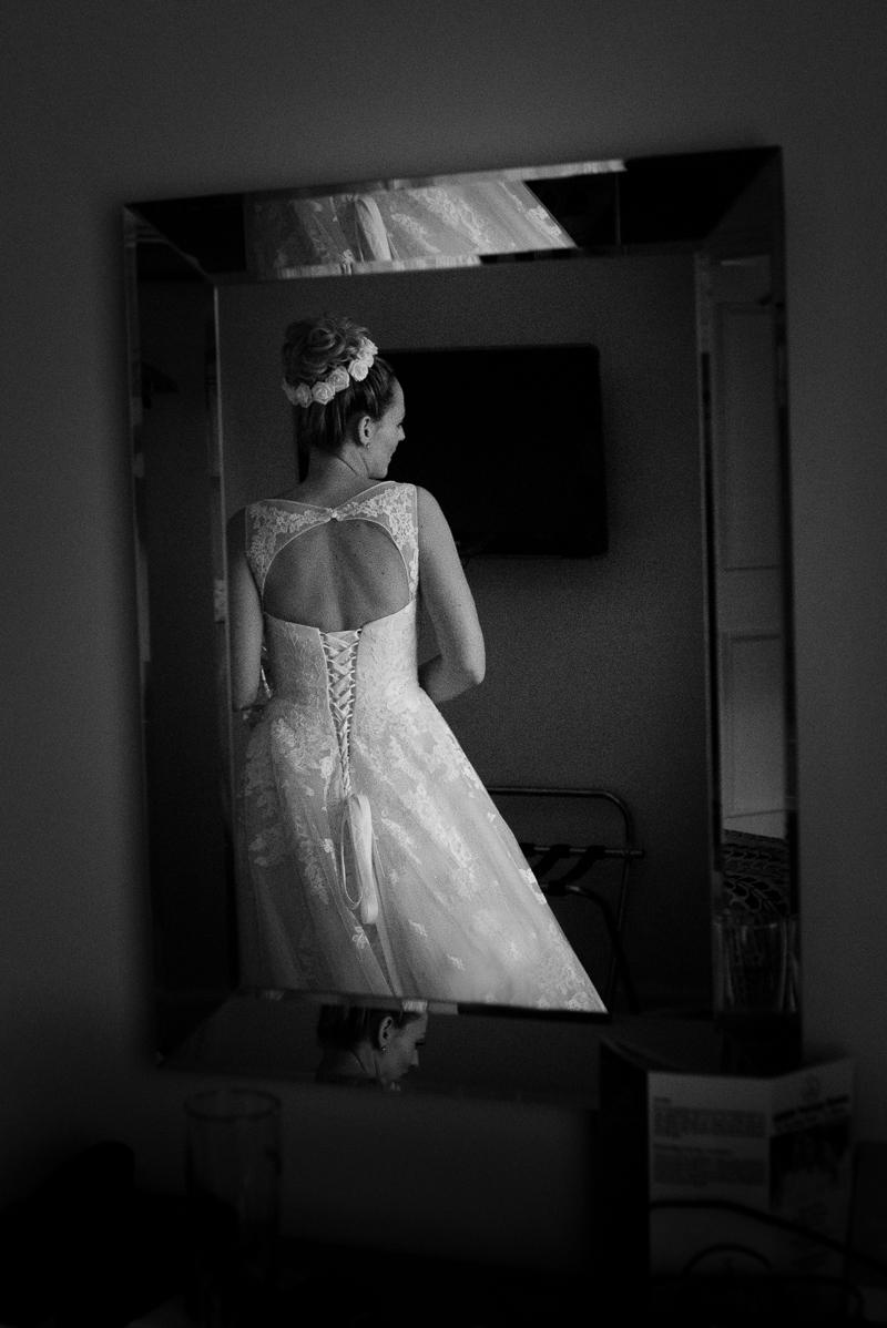 Bride in wedding dress at Noke Hotel St Albans